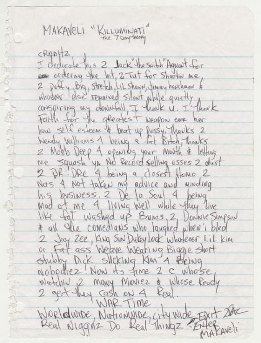 "Original ""Makaveli"" Liner Notes"